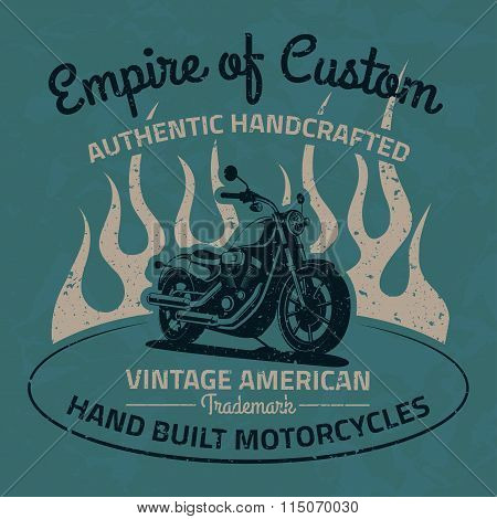 Vintage Motorcycle For Printing With Grunge Texture. Old School Race Poster. T-shirt Chopper Design.