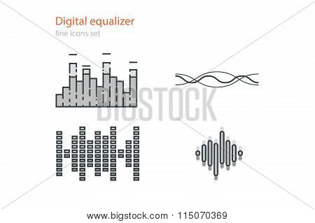 Set of digital equalizers . Line art. Stock vector.
