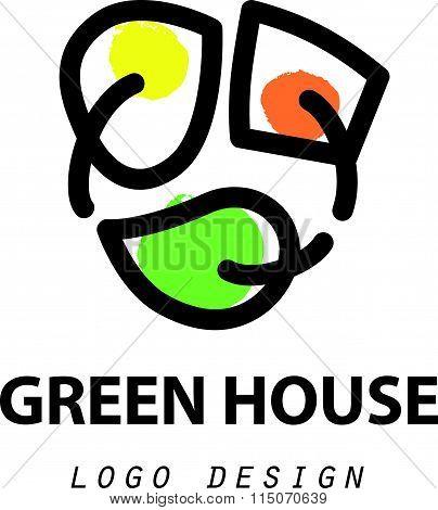 Vector greenhouse logo templates.