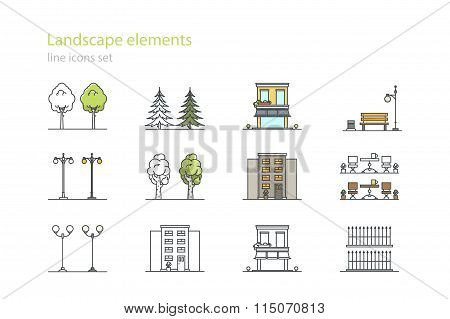 City design elements. Line art. Stock vector.