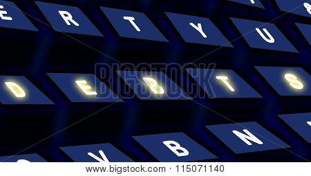 Computer black keyboard with DEBTS text on buttons poster
