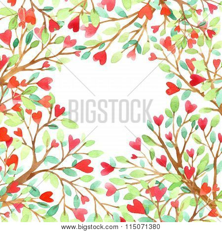 Love tree watercolor. Love background. Red heart. Wedding invitation design. Valentine day backgroun