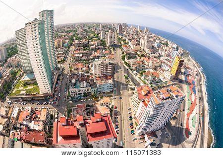 Bird Eye Aerial View Of Havana City Capital Of Cuba In Latina America - Detail Of Skyscrapers