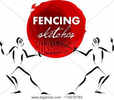 Vector hand drawn fencer sketch