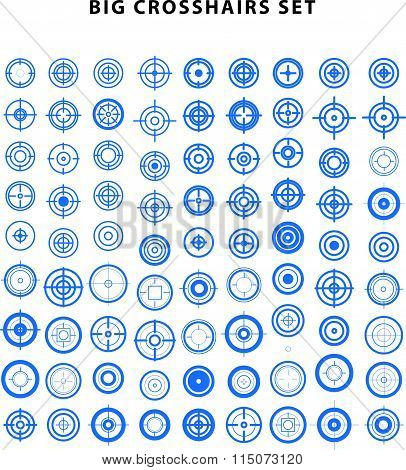 Vector set of flat targets and crosshairs icons.