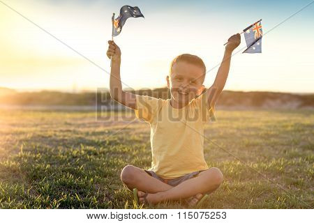 Happy Boy With Flags Of Australia