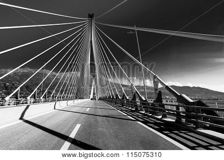 Rio-Antirio suspension bridge crossing Corinth Gulf, Patra, Gree