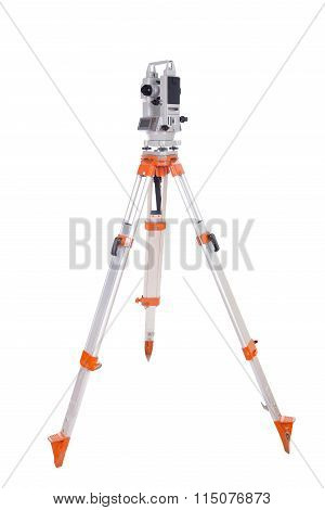 Survey Equipment Theodolite On A Tripod. Isolated On White