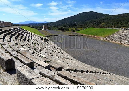 MESSENIA, GREECE - SEMPTEMBER 26: ruins in Ancient city of Messina, Messinia, Peloponnes, Greece