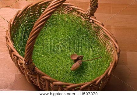 Basket, Artificial Grass And Acorn