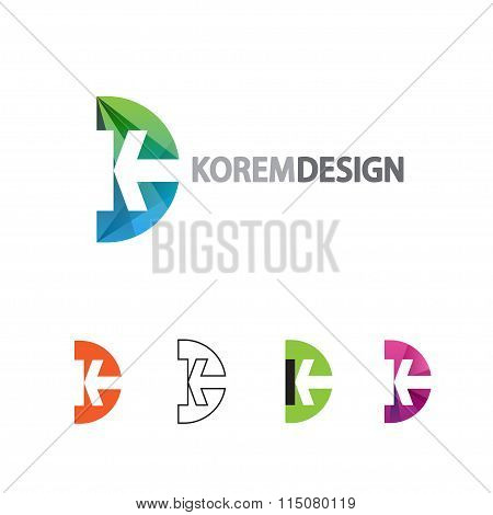 Dynamic Logo in flat gradient and line style. Icon design letter K and D or semicircle with arrow. poster