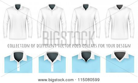 Different polo collars for your design. Vector illustration. Fully editable handmade mesh.