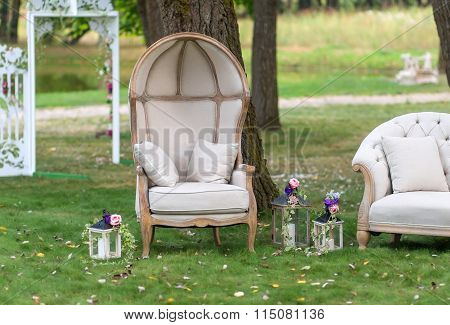 Chair in a beautiful Park surrounded by lanterns