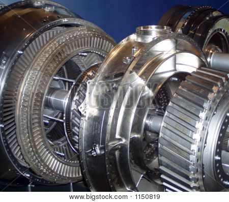 the inside of a gas turbine engine as used in the aeronautical industry. poster