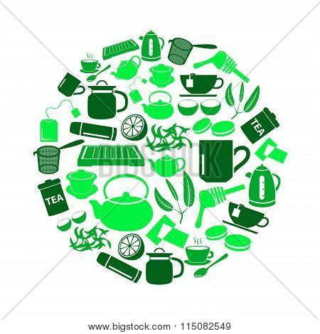 Tea Theme Green Simple Icons Set In Circle Eps10