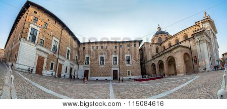 Duca Federico Square And Cathedral In Urbino