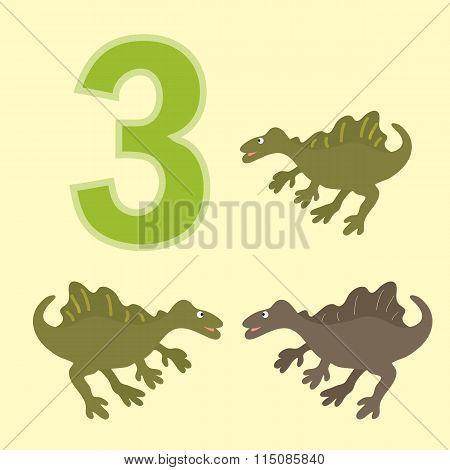 Number Three. Three Dinosaur (spinosaurus ).