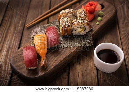 Sushi set on a wooden tray