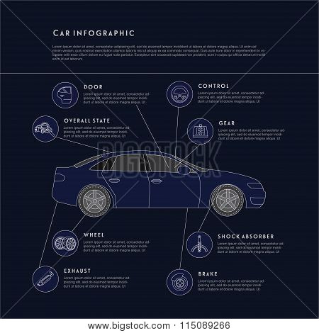 Car details infographic illustration