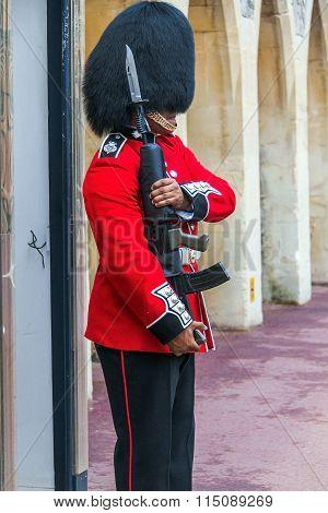Queen's Guard  preparing to be on duty  inside Windsor castle