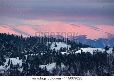 Carpathians On Red Winter Sunrise