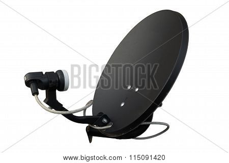 Isolated Black Satellite On White Background