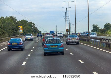 Intensive Left-hand Traffic On British Roads Between Windsor And London