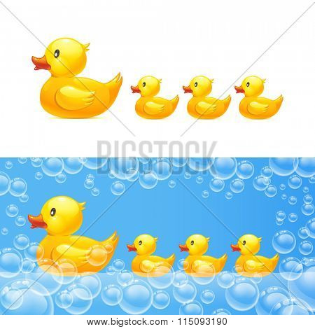 rubber duck with ducklings. Vector 10eps. Transparent bubbles