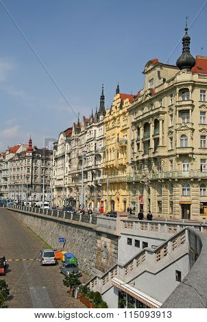 Prague, Czech Republic - April 16, 2010: Buildings On Masaryk Embankment In Nove Mesto (the New Town