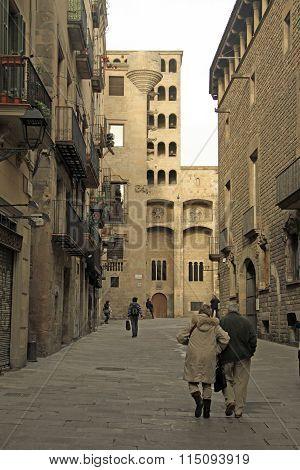Barcelona, Catalonia, Spain - December 14, 2011: Palau Reial Major (major Real Palace) In Barri Goti