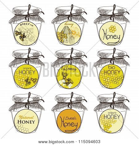 Honey and bees vector badges and labels for any use