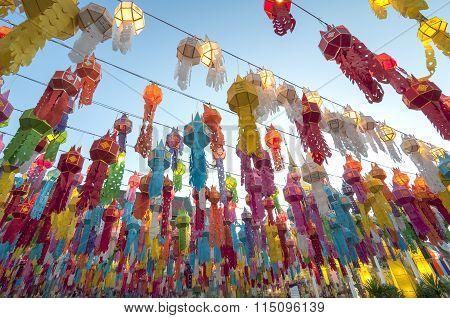 Colorful Paper Lantern Decoration For Loi Krathong Festival.