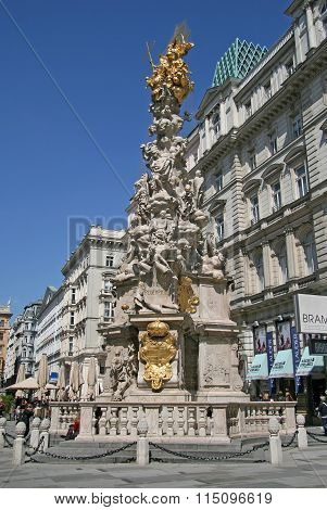 Vienna, Austria - April 22, 2010: Plague Column (holy Trinity Column) Located On The Graben Street I