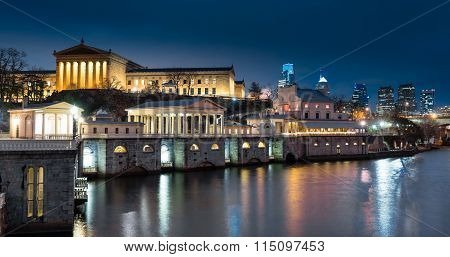 Philadelphia Art Museum And Waterworks Nightscape Along The Schuylkill River In Philadelphia, Pennsy