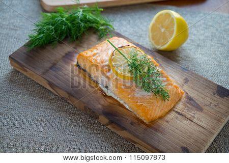 Cooked Cedar Plank Salmon