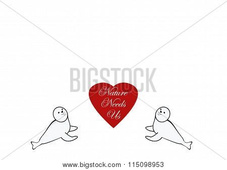Baby Seals And Heart Drawing With Message