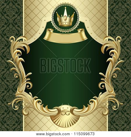 Vintage gold banner with a crown on dark green baroque ornamental background