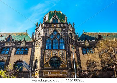 Facade of the famous Museum of applied arts in Budapest, Hungary. poster