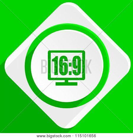 16 9 display green flat icon