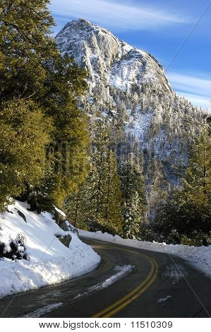 Mountain Road With Snow