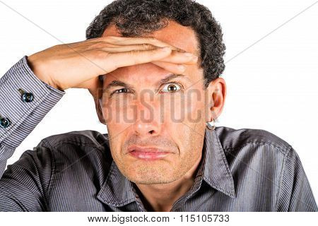 Incredulous man portrait on white background