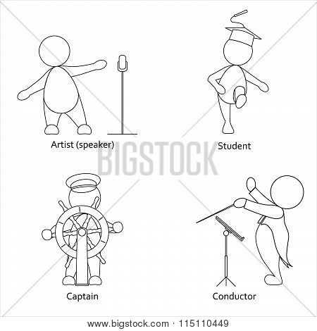 Set mono line images of professions