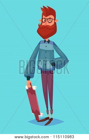 Funny  illustration of hipster cartoon character. Isolated vector illustration.