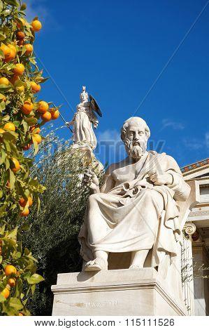 Plato And Athena Statues