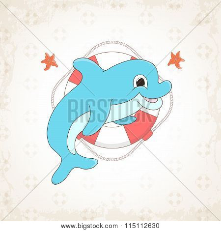 Childish vector dolphin with textural background