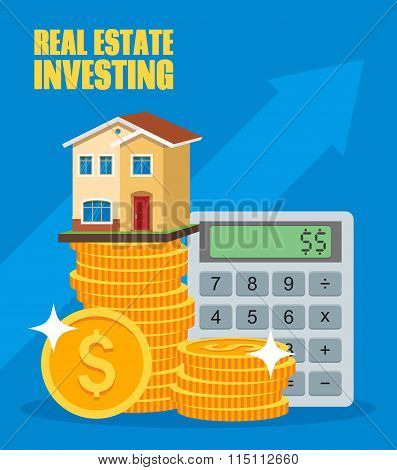 Property Investment concept. House and real estate money investment. Dollar symbols, design elements