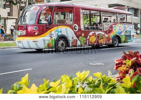 Unique-looking tourist bus