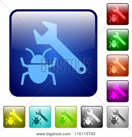 Set of bug fixing color glass rounded square buttons poster