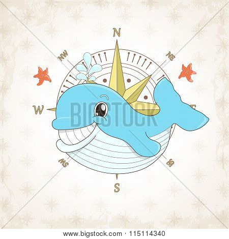 Childish Vector Whale With Textural Background