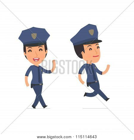 Happy And Cheerful Character Constabulary Goes And Runs